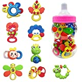 Deluxe 9 Piece Baby Rattles Teether & Shakers in Pink...