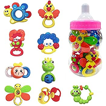 9 Piece Baby Rattle and Teether Toy Gift Set for Girls in Storage Milk Bottle (Pink)