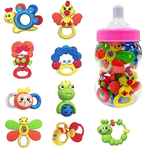 Deluxe 9 Piece Baby Rattles Teether & Shakers in Pink Milk Bottle | Grab and Spin Musical Fun Toy Gift Set | Early Educational Toys for 3, 6, 9, 12 Month Infant Girls, Newborn, Toddler (Piece Jumbo 9)