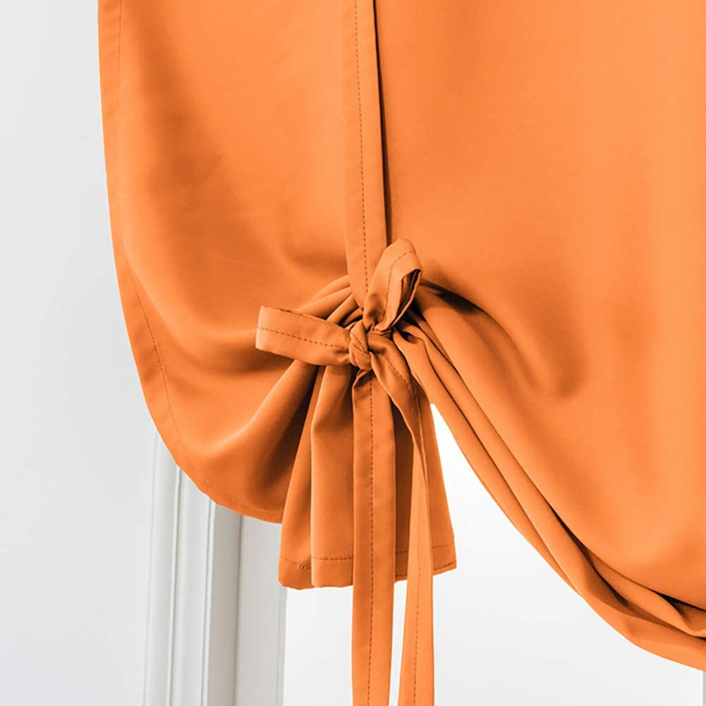NuAnYI Thermal Insulated Blackout Curtain,Rod Pocket Drapes,Solid Color Roman Curtain,tie Up Room Darkening Shade Curtain Window Orange 60x140cm(24x55inch)