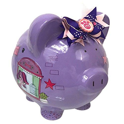 Littlest Pet Shop Pig Piggy Bank Girl Ceramic Ribbon Purple