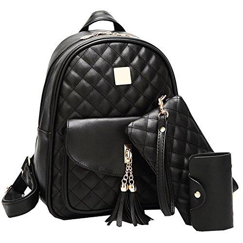 Black Leather Luggage Set (Juilletru Black Womens 3Pcs Backpack Purse Fashion Bags Leather Travel Shoulder Bag Daypack)