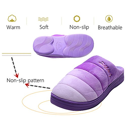 Home Women slip Shoes Non Casual Couple Indoor Grape Men's Thicken Slippers amp;kate Violet Warm Cotton William BYa8g8