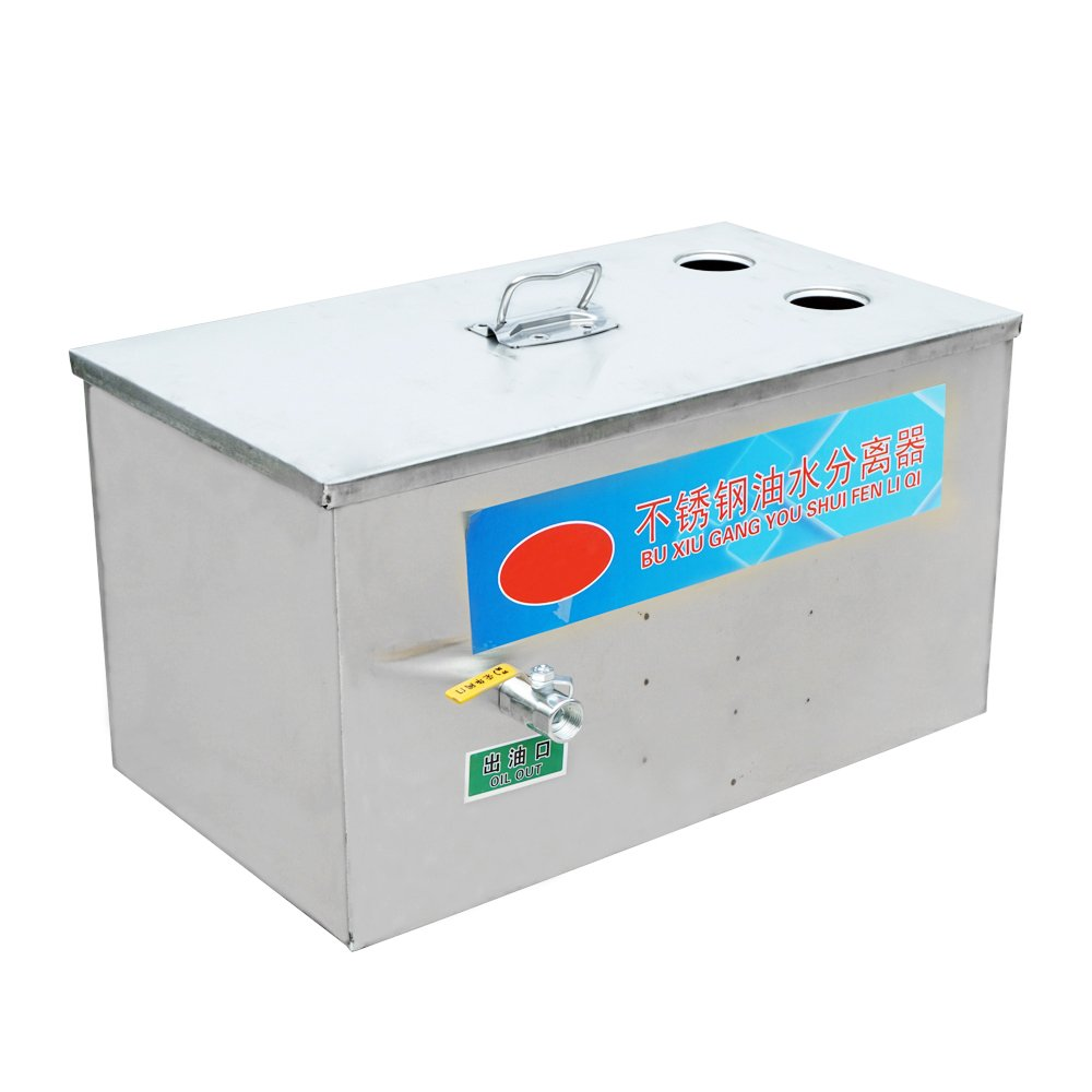 ECO-WORTHY Stainless Steel Grease Trap Interceptor 2 Inlets for Restaurant Kitchen Wastewater