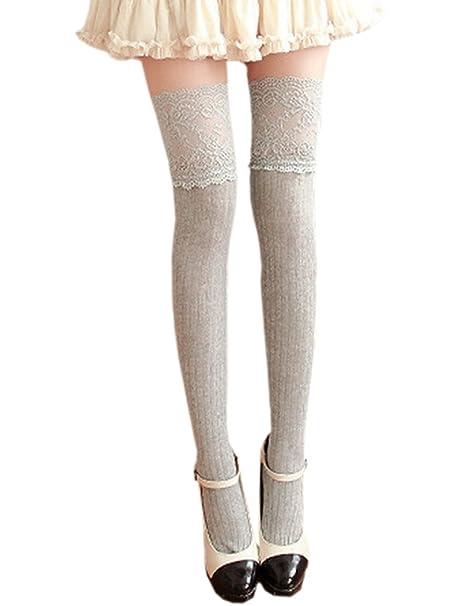 975cda3ad1a13 ECHERY Frauen Mädchen Lace Top Knit Über Knie Socken Fancy Kleid ...
