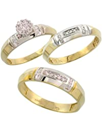 10k yellow gold diamond trio engagement wedding ring set for him and her 3 piece 45 mm 4 mm wide 010 cttw brilliant cut ladies sizes 5 10 - Interlocking Wedding Rings