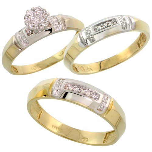10k Yellow Gold Diamond Trio Engagement Wedding Ring Set for Him and Her 3 piece 4.5 mm & 4 mm wide 0.10 cttw Brilliant Cut, ladies sizes 5 – 10, mens sizes 8 14