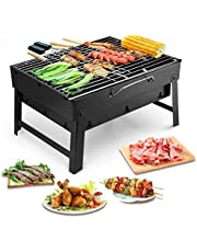 Uten Bärbar grill rostfritt stål kolrökare char broil BBQ gallergrill för utomhus camping (liten), svart