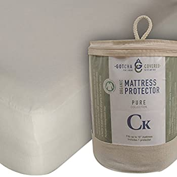 Gotcha The Pure Collection Organic Cotton Jersey Mattress Protector Split-Head King Natural