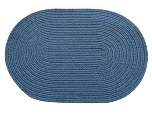 Solid polypropylene Oval Braided Rug, 2 by 3-feet, French Blue from RRI Home Decor