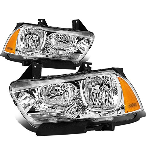 For Dodge Charger LX Pair of Chrome Housing Amber Corner OE Style Replacement Headlight ()