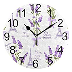 Wamika Paris France Eiffel Tower Round Wall Clock Battery Operated Quartz Analog Purple Lavender Flowers Clock Non Ticking Silent Acrylic Clocks for Home School Office