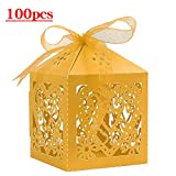 Lucky Monet 25/50/100PCS Love Heart Laser Cut Wedding Candy Gift Box Chocolate Box for Wedding Favor Birthday Party Bridal Shower with Ribbon (100pcs, Yellow)