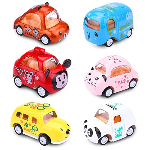 EsOfficce Pull Back Cars, Pull Back Vehicles,Cute Mini Animals Toy Cars, Metal Die Cast Cars, Party Favors for Toddlers Boys and Girls 3 Year + ()