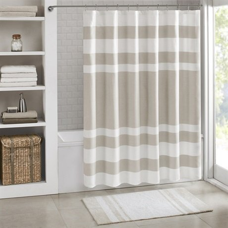 Madison Park Spa Waffle Shower Curtain With 3M Treatment Shower Curtain - Taupe - 72x72'' by Madison Park