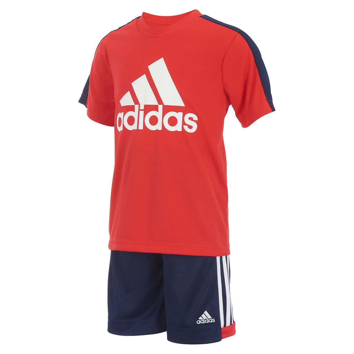 adidas Boys 2 Piece T-Shirt Tee & Shorts Set Athletic Outfit Size 7 (Red, 7)