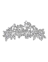 Ever Faith Wedding Flower Clear Austrian Crystal Hair Barrette Silver-Tone N00553-1