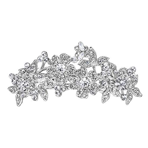 EVER FAITH Women's Wedding Flower Cluster Hair Barrette Clear Austrian Crystal Silver-Tone