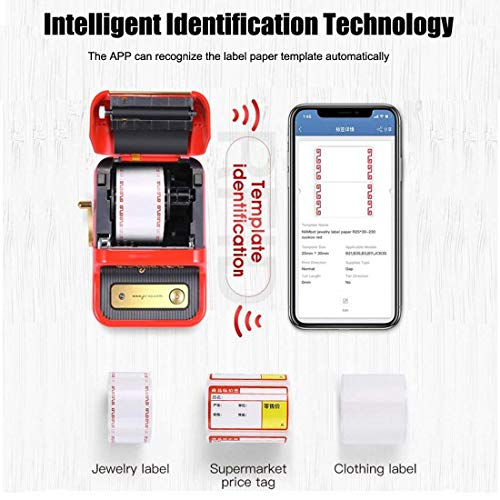 Mini Thermal Label Printer, Portable Handheld Sticker Print Machine, Bluetooth Label Maker Machine (Red)