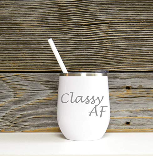 Classy AF Stainless Wine Glass in White Color with Clear Plastic Lid and Coordinating Straw