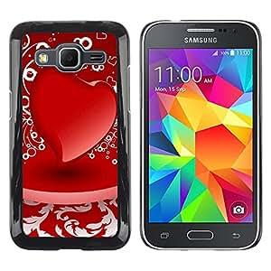 Caucho caso de Shell duro de la cubierta de accesorios de protección BY RAYDREAMMM - Samsung Galaxy Core Prime - D red heart