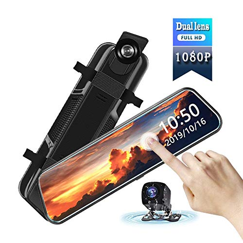 10 inch IPS Mirror Dash Cam with Touch Screen Dual Lens Front and Rear Cameras Full HD 1080P View Backup Night Vision Parking Monitor car dvr Dash Camera 170′ Wide Angle Rear Mirror Camera