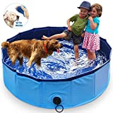MARUNDA Foldable Dog Pool,Pet Swimming Pool for Dog Pools for Large Dogs, 63 x 12 inch for Slip-Resistant Material Kids Pool.