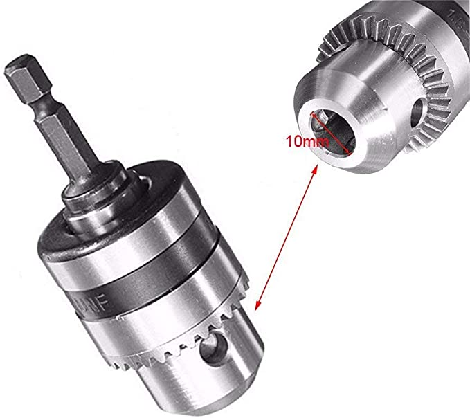 10mm 3//8/'/' 24UNF Keyless Drill Chuck Converter /& 1//4/'/' Hex Shank Adaptor Tool 4H