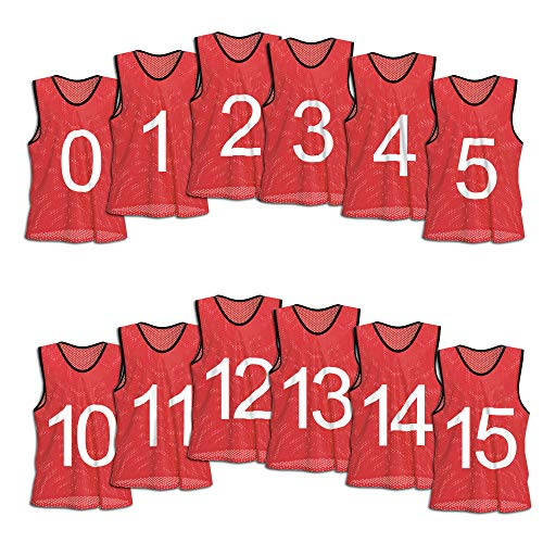 Vest Lightweight Basketball - Unlimited Potential Nylon Mesh Numbered Scrimmage Team Practice Vests Pinnies Jerseys for Children Youth Sports Basketball, Soccer, Football, Volleyball (Red Numbered, Adult)