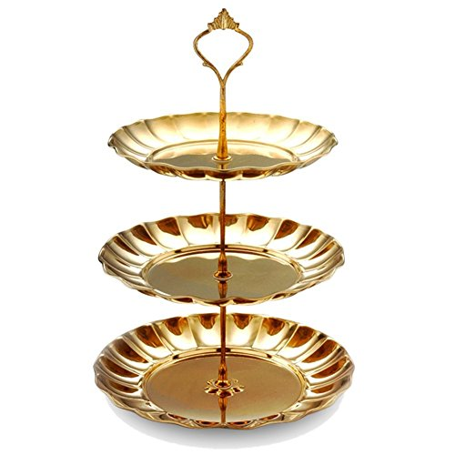 Afternoon Tea Plate - Hofumix 3 Tier Round Cake Stand Dessert Display Stand Rack Afternoon Tea Snack Plate (3 tier, gold)