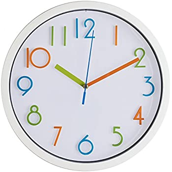 Bernhard Products Colorful Kids Wall Clock 10 Silent Non Ticking Quality Quartz Battery Operated