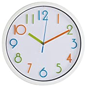 Bernhard Products Colorful Kids Wall Clock 10  Silent Non Ticking Quality Quartz Battery Operated Wall Clock, Easy To Read 3D Numbers, White