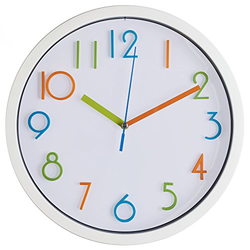 Bernhard Products Colorful Kids Wall Clock 10 Inch Silent Non Ticking Quality Quartz Battery Operated Wall Clocks, Easy to Read 3D Multi Colored Numbers, White Frame ()
