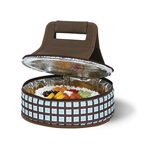 Cake 'N Carry - Blue Oyster - Round Thermal Insulated Pie or Cake Carrier Holds Up To a 12 Inch Dish by Picnic Plus