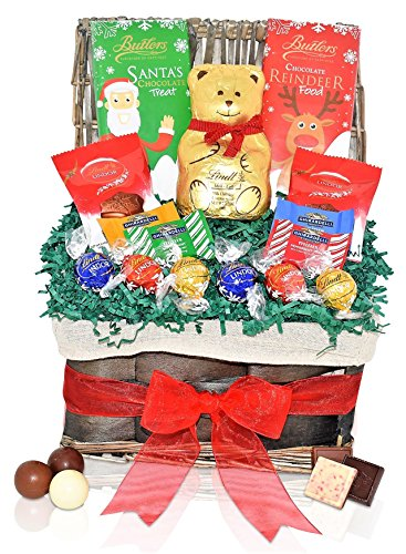 Lindt Christmas Chocolate Variety Gift Basket - Ghirardelli Squares, Lindt Lindor Truffles, Butlers Milk Chocolate Santa & Reindeer - Christmas Gift Pack for Family, Friends, Her, Him and more