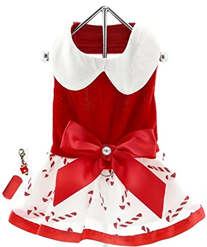 "Mrs. Santa Claus Holiday Candy Red Velvet Harness Dress with Charm Bags and Leash- for Dogs Sizes XS to L (Medium fits Chest 16""-18"", Neck 12""-14, Candy - Red Santa Harness Velvet"
