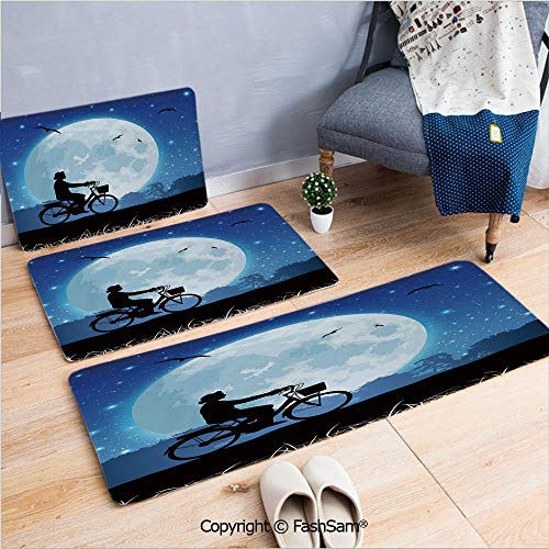 FashSam 3 Piece Flannel Doormat Landscape Drawing Style with Silhouette of a Person Riding a Bicycle into Night for Kitchen Rugs Carpet(W15.7xL23.6 by W19.6xL31.5 by W31.4xL47.2)
