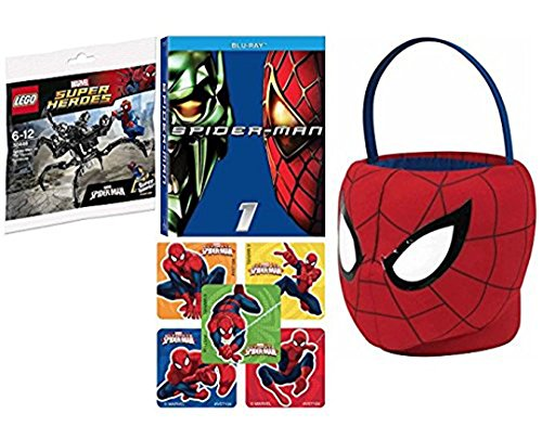 Marvel Spectacular Spider-Man Plush soft Basket + Hero Movie & Super Jumping Venom Mini Spidey Figure & Bonus Stickers