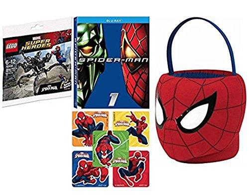 Heroes And Villains Fancy Dress Costume Ideas (Marvel Spectacular Spider-Man Plush soft Basket + Hero Movie & Super Jumping Venom Mini Spidey Figure & Bonus Stickers)