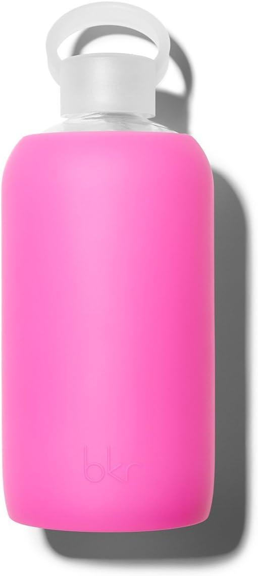 BKR/1L – Martillo de cristal grande, calidad alimentaria, botella de agua sin BPA con funda de silicona, fucsia, 1 Litro