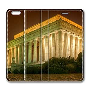 iPhone 6 Plus Case, Fashion Customized Protective PU Leather Flip Case Cover The Lincoln Memorial for New Apple iPhone 6(5.5 inch) Plus