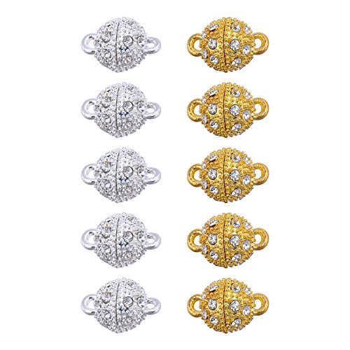 Ball Tornado Buckle - 10 Pcs 10.5mm Gold Color & Silver Color Ball Style Magnetic Clasp for Jewelry Bracelet Necklace Making Findings