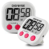 Digiwise 2 Pack Digital Kitchen Cooking Timer, Large LCD Screen with Loud Speaker Magnetic Countdown Clock for Cooking Baking BBQ Fitness Speed Interval, AAA Battery Included