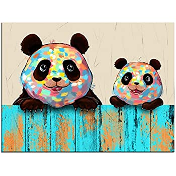 Welmeco Funny Animals Canvas Wall Art Happy Panda Mom and Baby Digital Carton Painting Giclee Prints Wall Decor Contemporary Art Ready to Hang for Kids Nursery Bedroom Decoration 16
