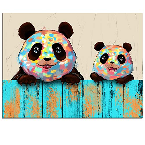 Welmeco Creative Large Animals Canvas Wall Art Lovely Pandas Family Painting Giclee Prints Wall Decor Framed Picture Contemporary Art for Pandas Lover Gift Kids Nursery Bedroom Decoration