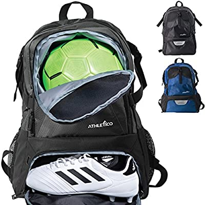 Athletico National Soccer Bag - Backpack for Soccer, Basketball & Football Includes Separate Cleat and Ball Holder - For Youth, Kids, Girls, Boys, Men & Women