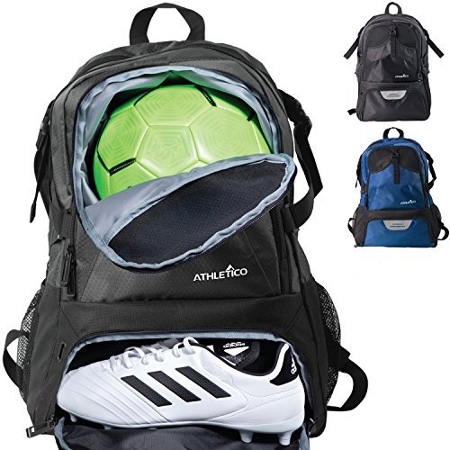 Athletic Soccer Cleats - Athletico National Soccer Bag - Backpack for Soccer, Basketball & Football Includes Separate Cleat and Ball Holder (Black)