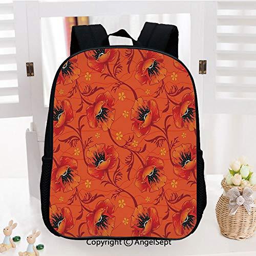 Kids School Backpack,Poppy Flower Series Blossom Blooming Florals Romance Boho Art Decor Nursery Room Decorations Classic,Plain Bookbag Travel Daypack,Burnt Orange Yellow Black