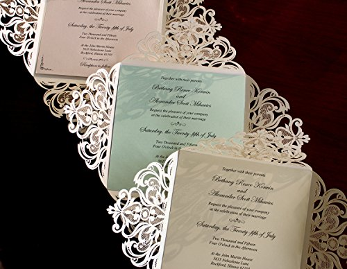Picky Bride Laser Cut Wedding Invitations Elegant Customized Invitations with your Invite Wording - Set of 50 (Purple Inserts) by Picky Bride (Image #1)