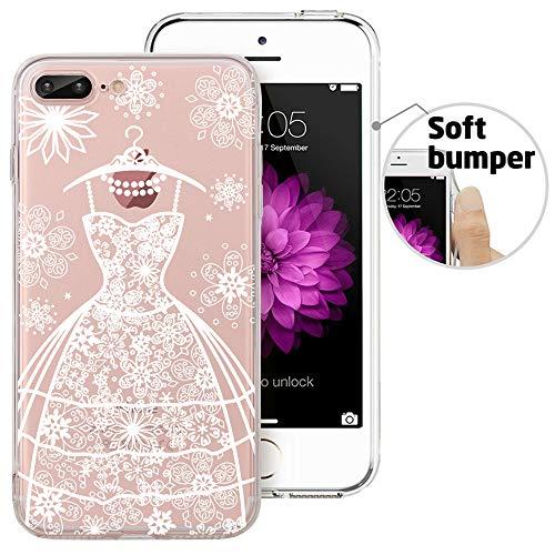 iPhone 8 Plus Case, iPhone 7 Plus Case, Doramifer Vintage Series Protective Case [Anti-Slip] [Good Grip] Aesthetic 3D Print Soft Back Cover iPhone 8 Plus/iPhone 7 Plus (Wedding Dress)
